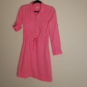 J Crew dyed dyed neon pink shirt dress